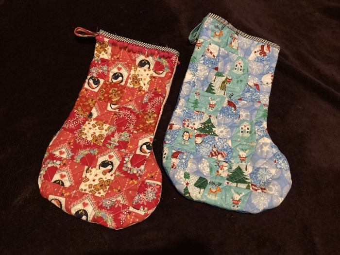 a red anfg blue patchwork stocking set